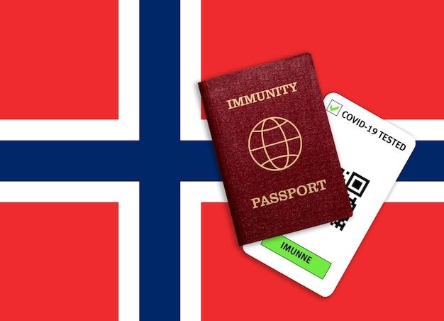 Conceito de imunidade ao coronavírus. passaporte de imunidade e resultado do teste para covid-19 na bandeira da noruega.