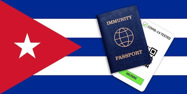 Conceito de imunidade ao coronavírus. passaporte de imunidade e resultado do teste para covid-19 na bandeira de cuba.