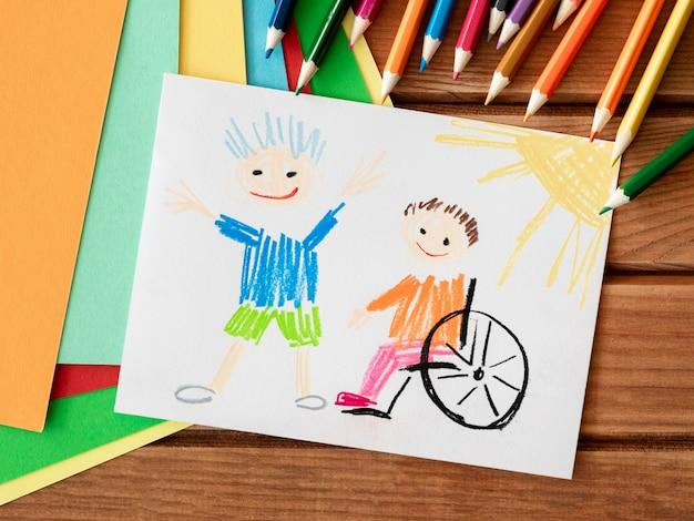Conceito de inclusão de criança com deficiência e amigo