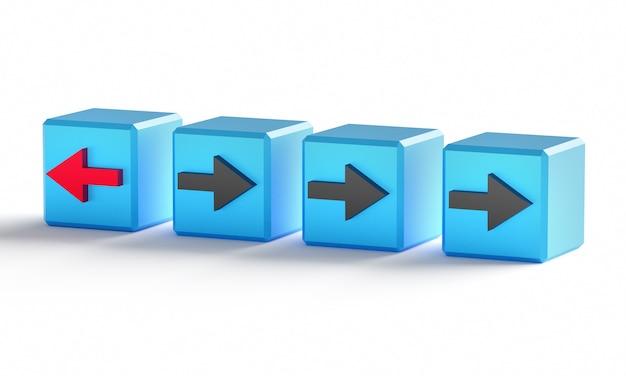 Conceito de individualidade. cubos com flechas. um cubo com uma seta vermelha, os outros com uma seta preta. renderização 3d