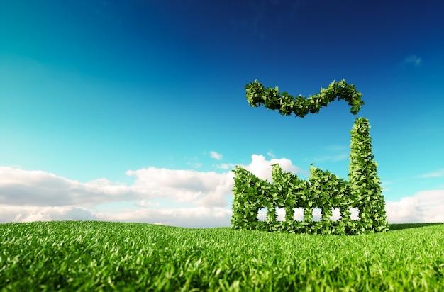 Conceito de indústria ecológica. renderização 3d do ícone de fábrica verde no prado fresco da primavera com o céu azul ao fundo.