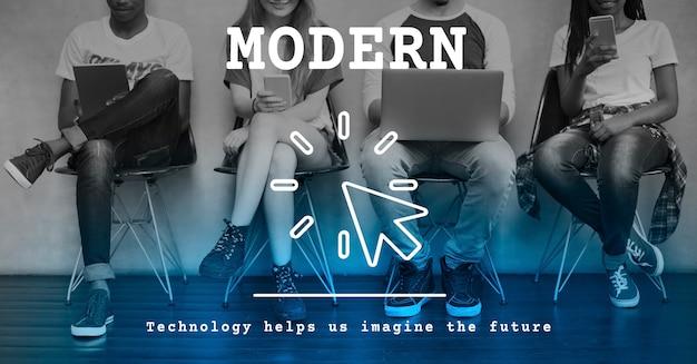 Conceito de inovação de tendência de tecnologia moderna
