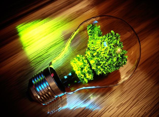Conceito de inovação verde. imagem 3d gerada por computador.