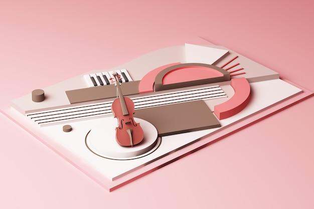 Conceito de instrumento de violino e música composição abstrata de plataformas de formas geométricas em renderização 3d em tom rosa pastel