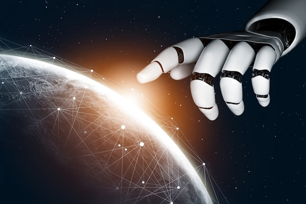Conceito de inteligência artificial de robô futurista
