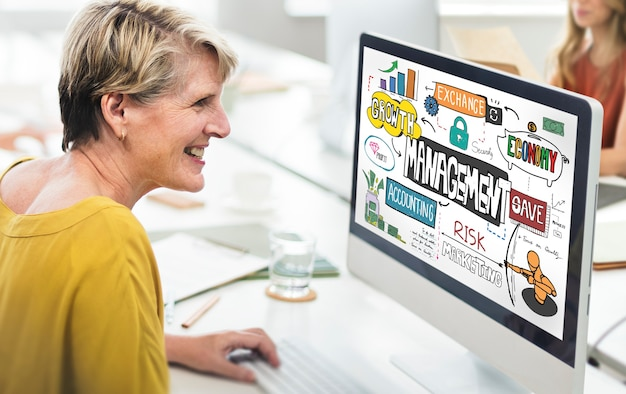 Conceito de intercâmbio de contabilidade de marketing de crescimento gerencial