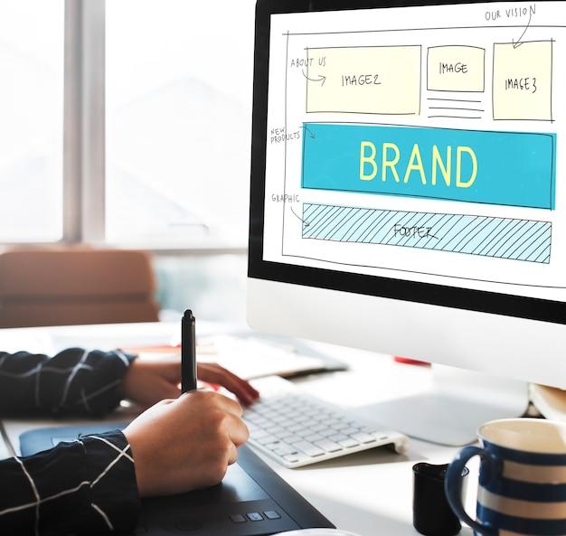 Conceito de interface do usuário do plano de site de marketing de marca registrada