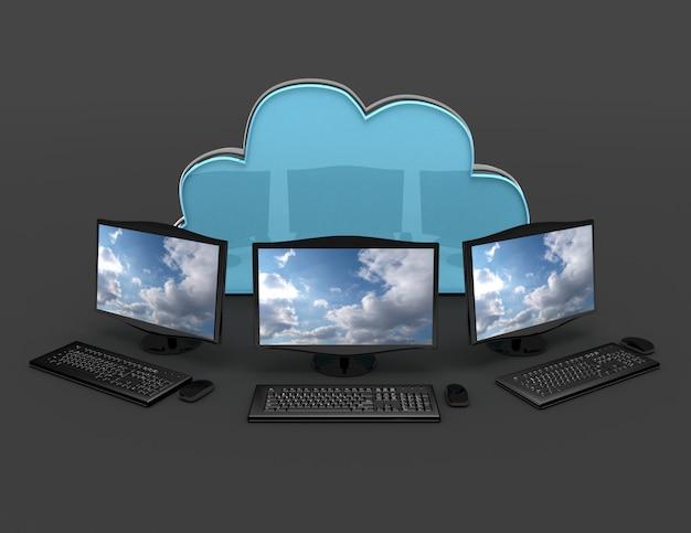Conceito de internet 3d. ilustração renderizada 3d