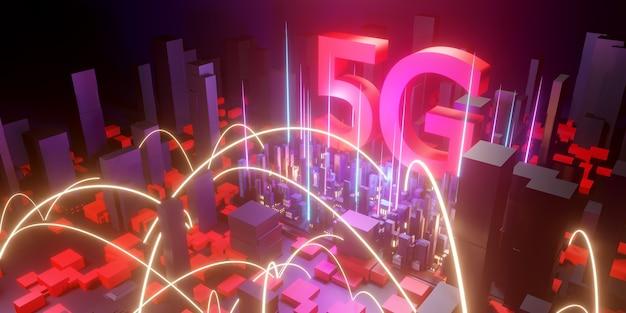 Conceito de internet 5g de alta velocidade, tecnologia sem fio de rede 5g no fundo da cidade, renderização em 3d