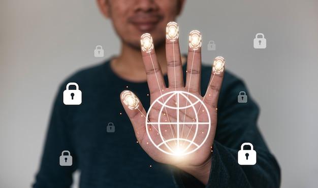 Conceito de internet de segurança de tecnologia de identificação