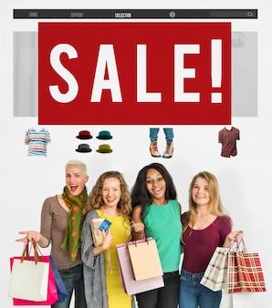 Conceito de internet do consumismo de venda de compras online