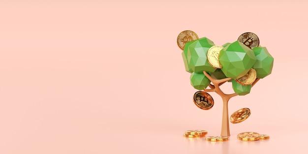 Conceito de investimento, árvore bitcoin cresce e tem uma colheita, ilustração 3d