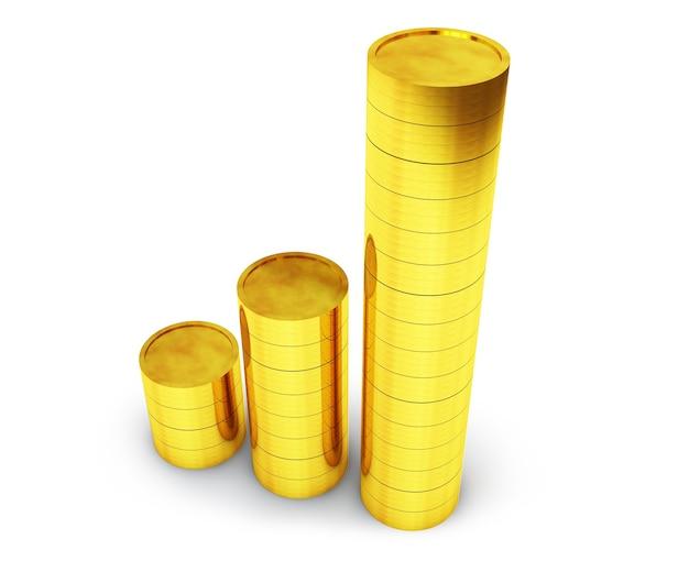 Conceito de investimento de sucesso, renderização em 3d
