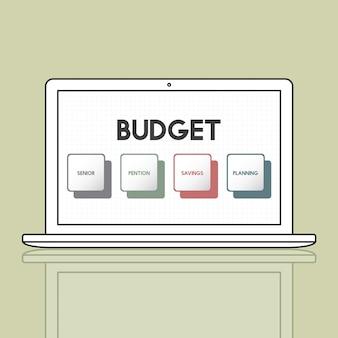 Conceito de investimento do orçamento do plano de aposentadoria