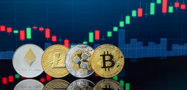 Conceito de investimento em bitcoins e criptomoedas