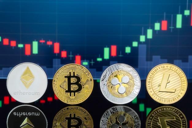 Conceito de investimento em bitcoins e criptomoedas.