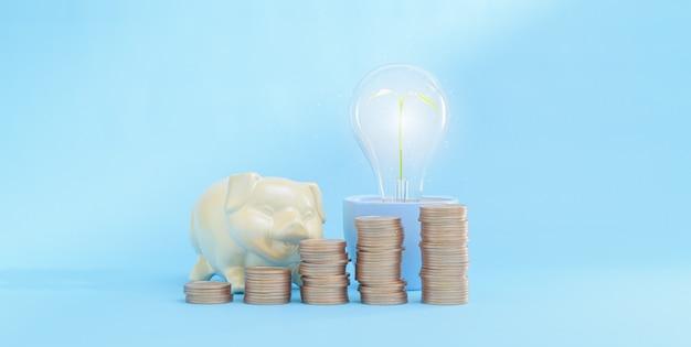 Conceito de investimento em crescimento financeiro e economia de dinheiro empilhamento de moedas