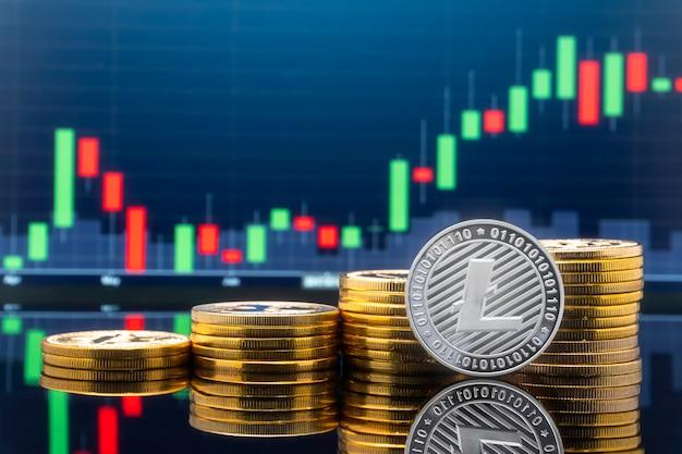Conceito de investimento em litecoin e criptomoeda.