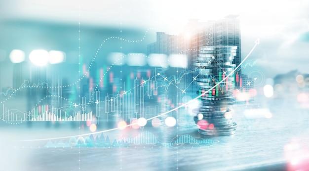 Conceito de investimento financeiro pilha de moedas para investidores financeiros com gráfico de negociação de crescimento banco