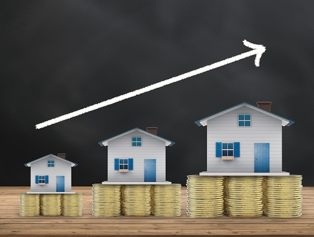 Conceito de investimento imobiliário com simulação de casas e moedas de ouro