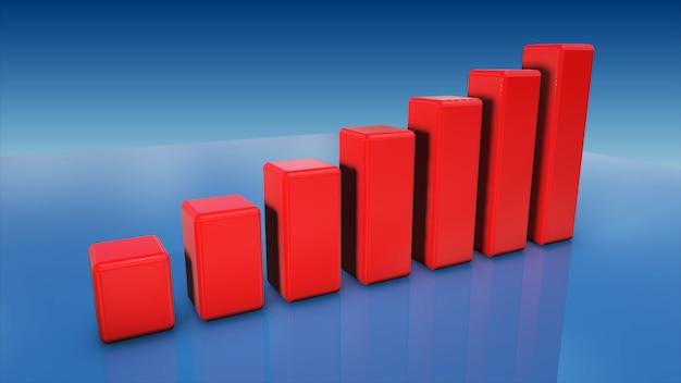Conceito de investimento, moedas gráfico ilustração 3d do mercado de ações