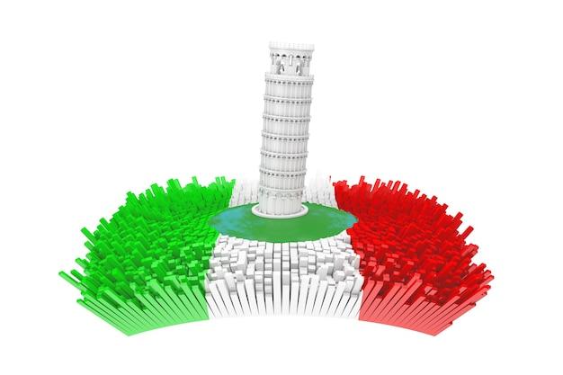 Conceito de itália. torre de pisa inclinada branca abstrata no centro da cidade de itália abstrata com bandeira da itália e muitos edifícios abstratos em um fundo branco. renderização 3d
