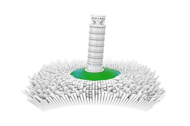 Conceito de itália. torre de pisa inclinada branca abstrata no centro da cidade de itália abstrata com muitos edifícios abstratos em um fundo branco. renderização 3d