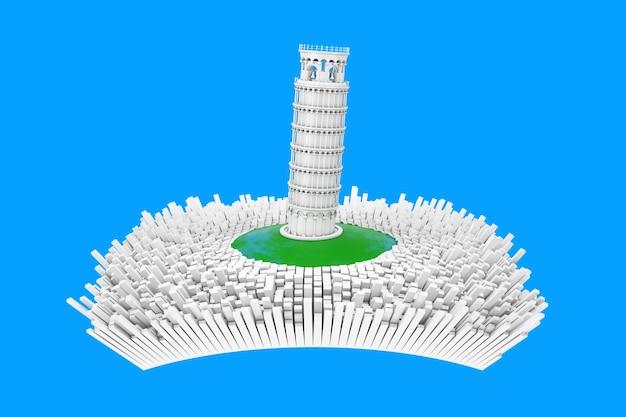 Conceito de itália. torre de pisa inclinada branca abstrata no centro da cidade de itália abstrata com muitos edifícios abstratos sobre um fundo azul. renderização 3d
