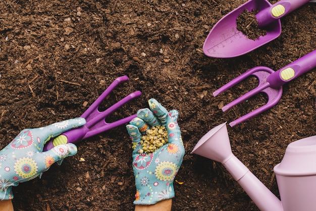 Conceito de jardinagem com pás e mãos segurando sementes