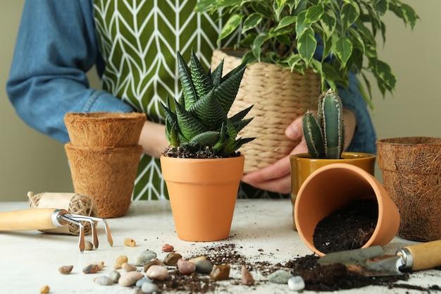 Conceito de jardinagem em mesa texturizada branca, vista frontal