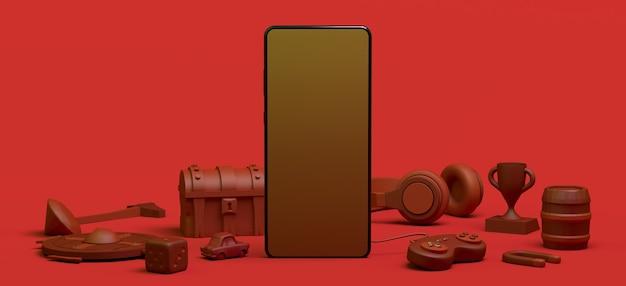 Conceito de jogador com smartphone, console de jogo, controlador, dados, fones de ouvido, peito, ilustração 3d
