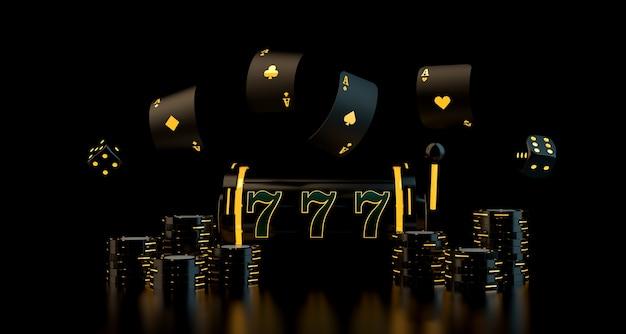 Conceito de jogo com jogo de cartas de dados, slot de fichas de cassino e roda de roleta com luzes de néon