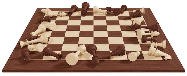 Conceito de jogo de tabuleiro de xadrez de negócios e competição conceito de estratégia numérica de xadrez em uma superfície branca ilustração em 3d lutando pela vitória