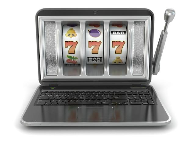 Conceito de jogo online. máquina caça-níqueis para laptop. 3d