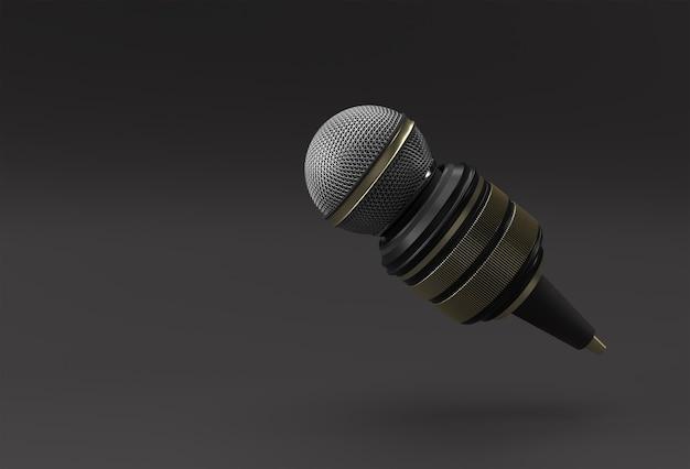 Conceito de jornalismo. notícias ao vivo microfone com câmera 3d renderind background