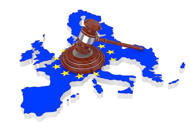 Conceito de justiça da união europeia. martelo de justiça de madeira com placa de som sobre o mapa da ue com a bandeira em um fundo branco. renderização 3d