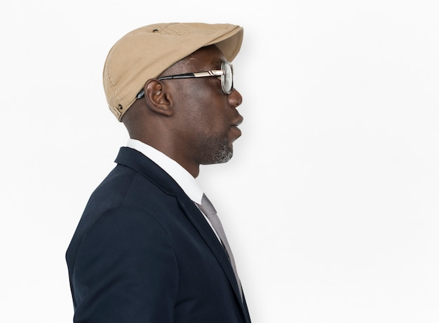 Conceito de lado de chapéu de óculos descida africana