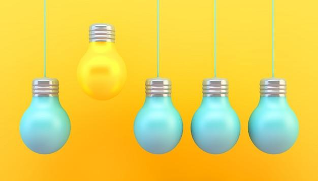 Conceito de lâmpadas amarelas e azuis