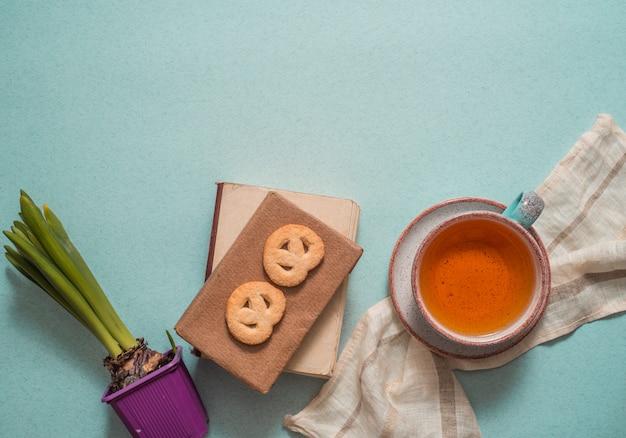 Conceito de lanches de chá diário de escrita