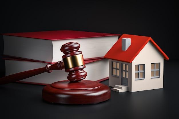 Conceito de legislação habitacional - livros jurídicos, casa e martelo, renderização em 3d