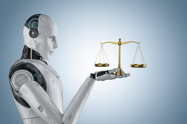 Conceito de lei cibernética com mão de robô segurando a escala de lei dourada