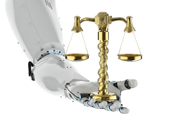 Conceito de lei cibernética com mão robótica de renderização em 3d segurando escala dourada em fundo branco