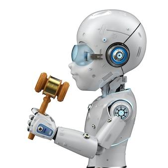 Conceito de lei cibernética com mão robótica de renderização em 3d segurando o juiz do martelo no fundo branco