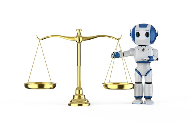 Conceito de lei cibernética com mini robô de renderização em 3d e escala dourada em fundo branco