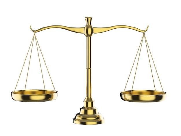 Conceito de lei com escala de lei de renderização em 3d em fundo branco