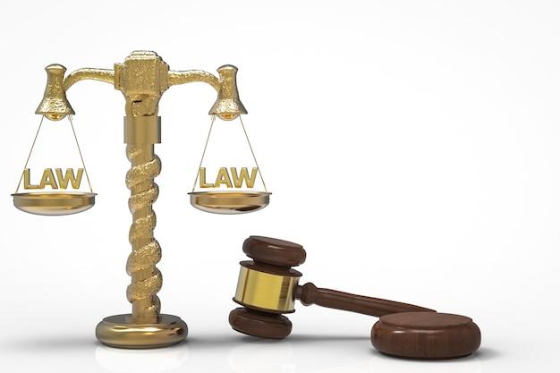 Conceito de lei com juiz de martelo de renderização em 3d e escala de lei de ouro