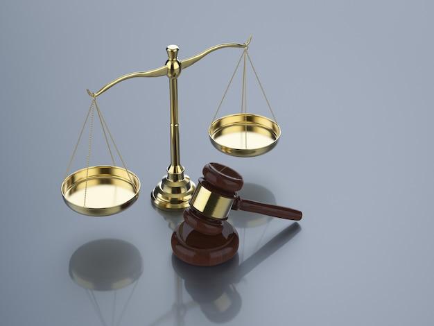 Conceito de lei com renderização em 3d, escala de lei dourada e juiz de martelo
