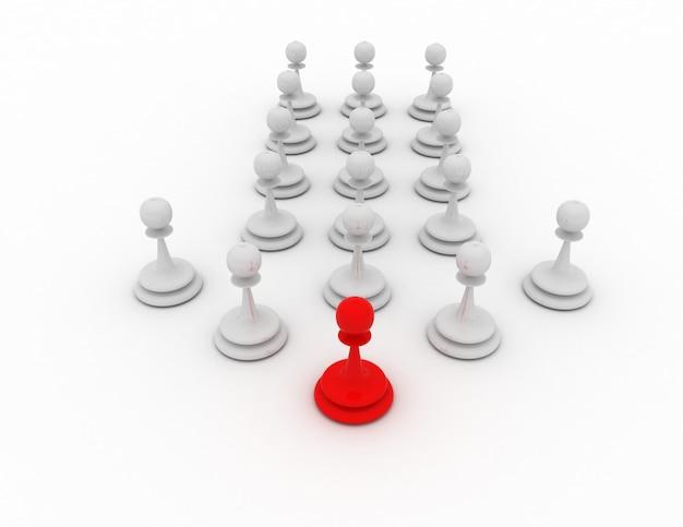 Conceito de líder de peão 3d. conceito de xadrez. ilustração renderizada 3d