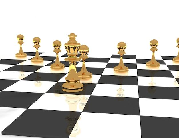 Conceito de líder de xadrez 3d