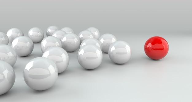 Conceito de liderança, brancos líderes da bola vermelha do líder. renderização 3d